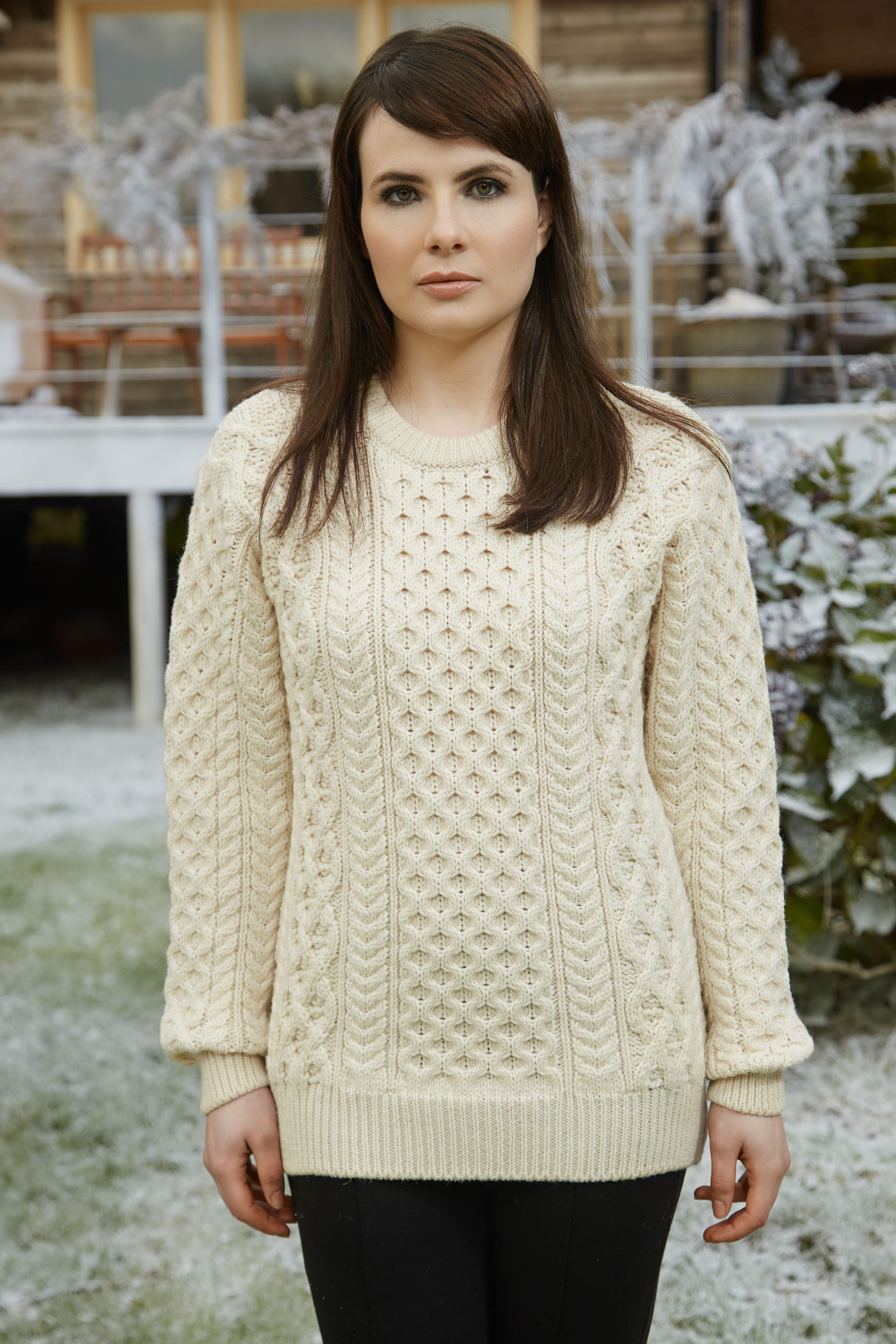 Women\'s Heavyweight Merino Wool Aran Sweater