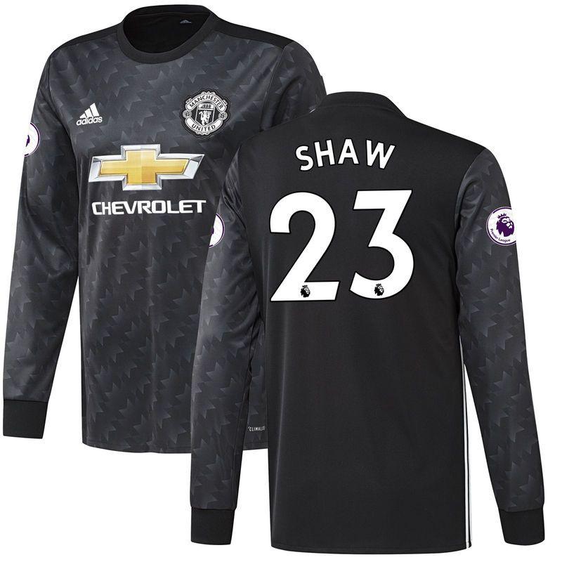 eacf54ede73 Luke Shaw Manchester United adidas 2017 18 Away Replica Long Sleeve Jersey  - Black