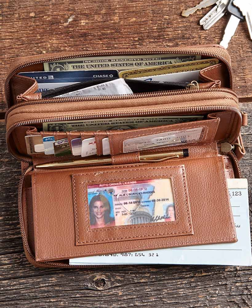 Stone Mountain Leather Wallet Black Brown Double Zip Around Organizer Card Slots