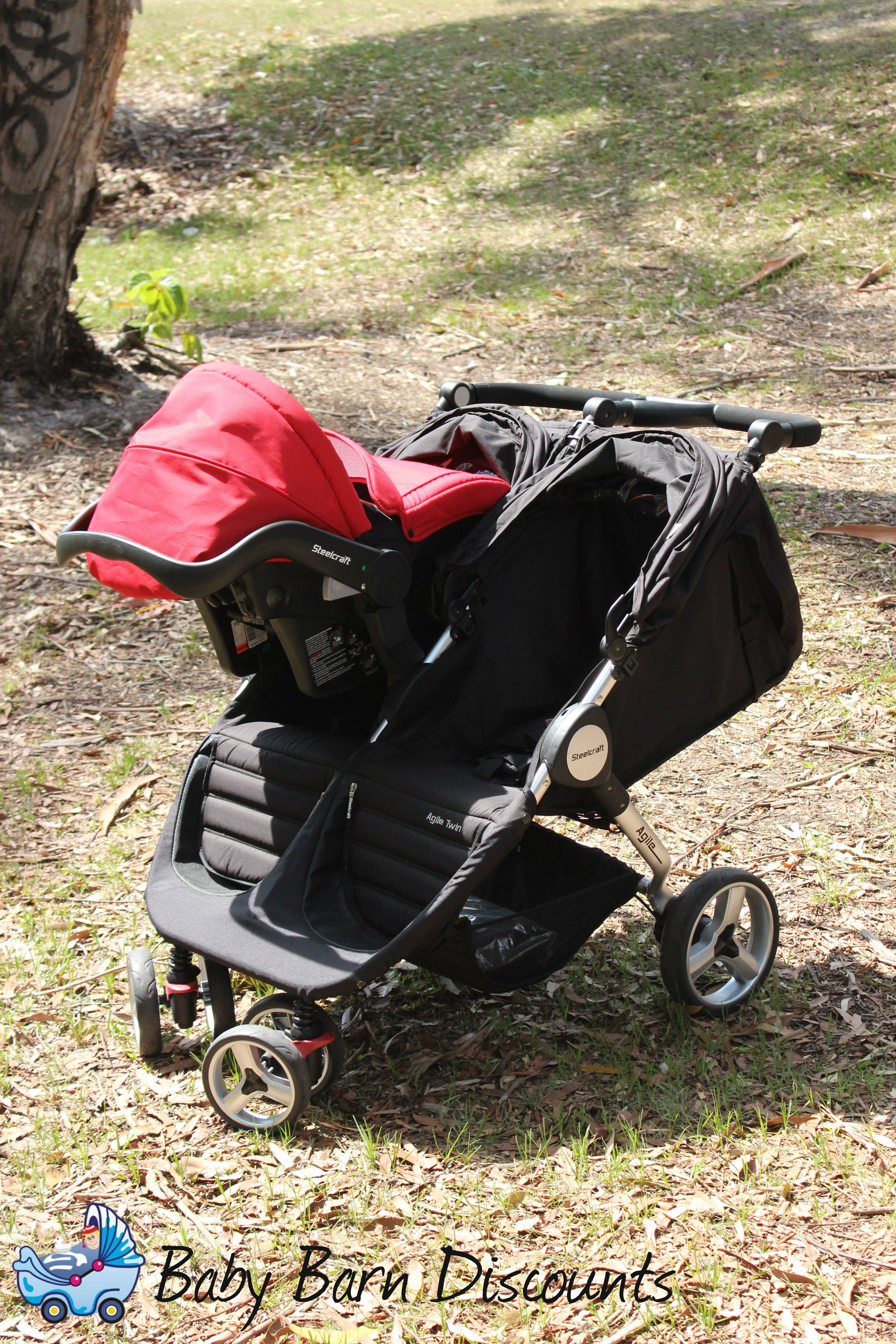 The Steelcraft Agile Twin Travel System Stroller equipped