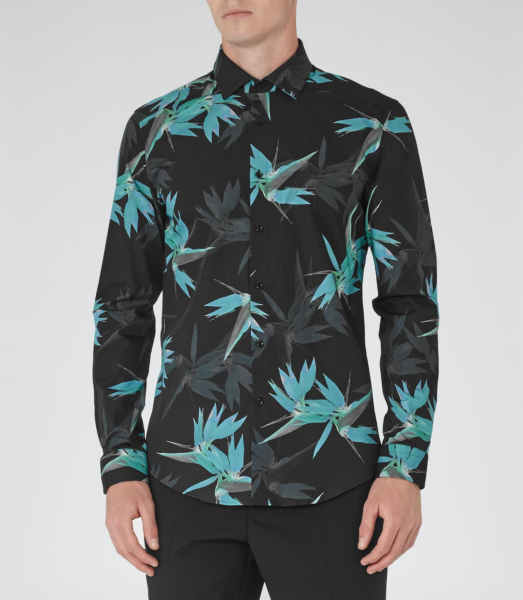Black t shirt reiss - Mens Navy Black Slim Patterned Shirt Reiss Xandy