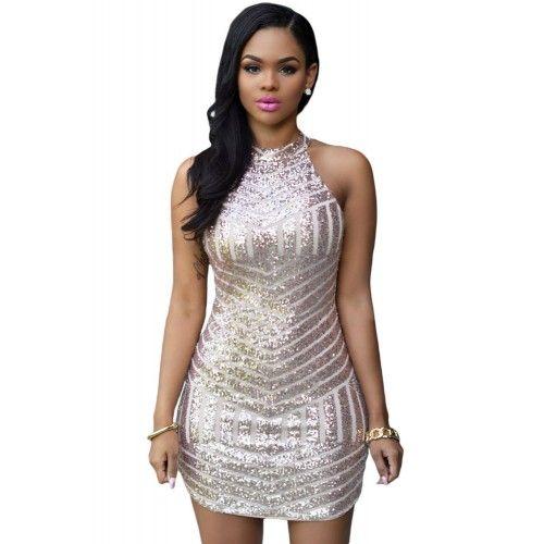 Femme Nouveau silver sequins sans manches Midi Dress Party Wear Femmes Taille Plus