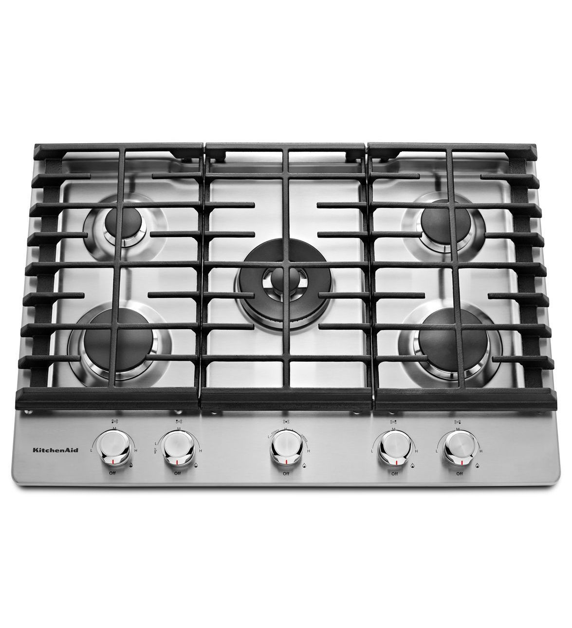 Stainless Steel 30 5 Burner Gas Cooktop Kcgs550ess Kitchenaid Gas Cooktop Kitchen Aid Cooktop