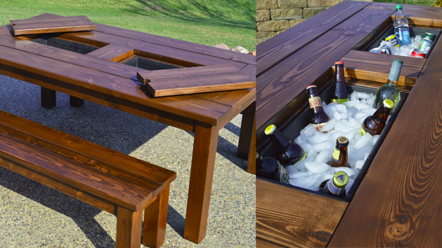 This diy patio table sports a built in drink cooler patio this diy patio table sports a built in drink cooler patio nashvillerealestate watchthetrailerfo