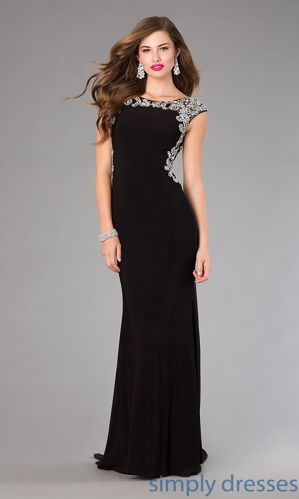 Long black cap sleeve formal gown by elizabeth k black long