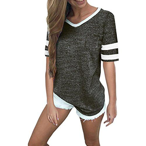 Damen Kurzarm Bluse Shirt T-Shirt Locker Tops mit Knopf Tunika Oberteile V-Nec