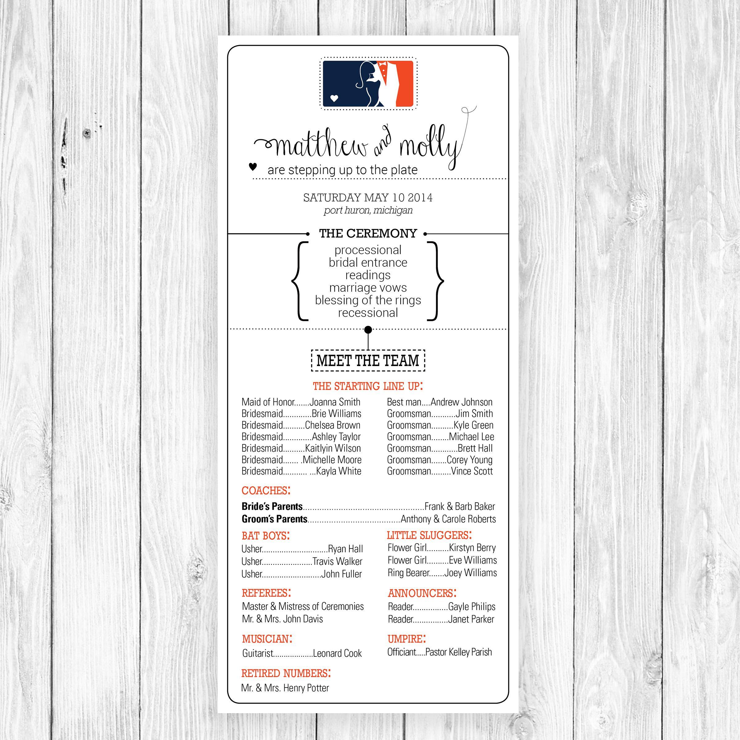Fun play on words! Baseball themed wedding program. | wedding ...