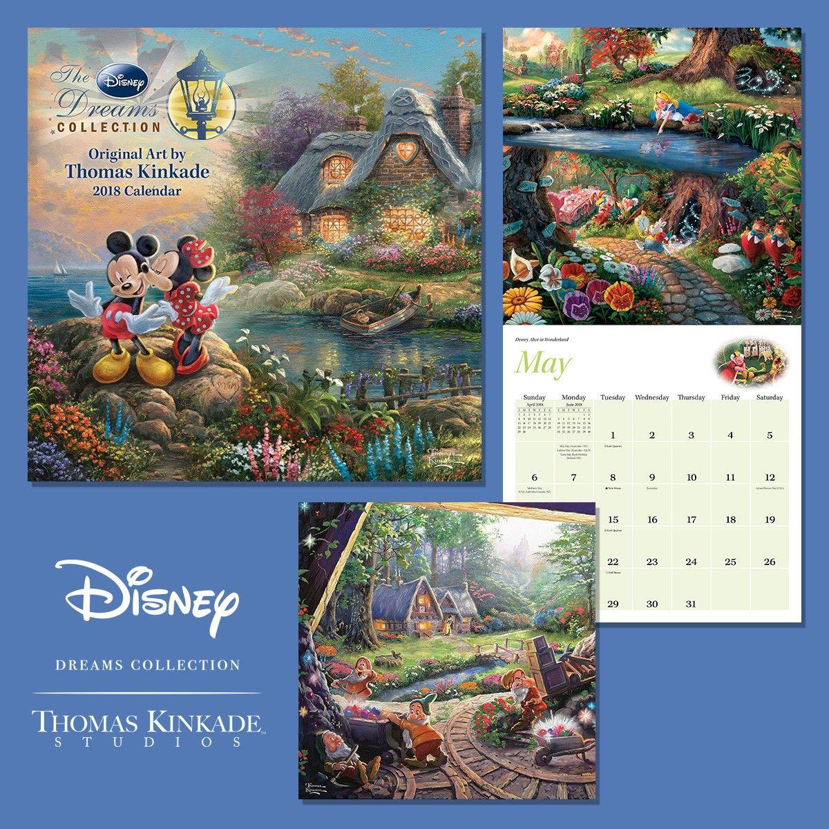 thomas kinkade the disney dreams collection 2018 mini wall calendar