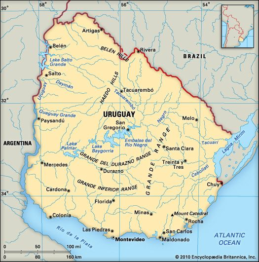 Map Of Uruguay Showing The Location Of Montevideo Viagem - Montevideo map