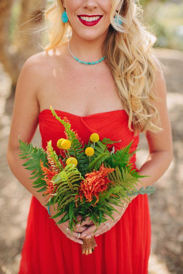 bright bridesmaids, photo by Matthew Morgan http://ruffledblog.com/southwestern-san-clemente-wedding #bridesmaids #ferns #wedding