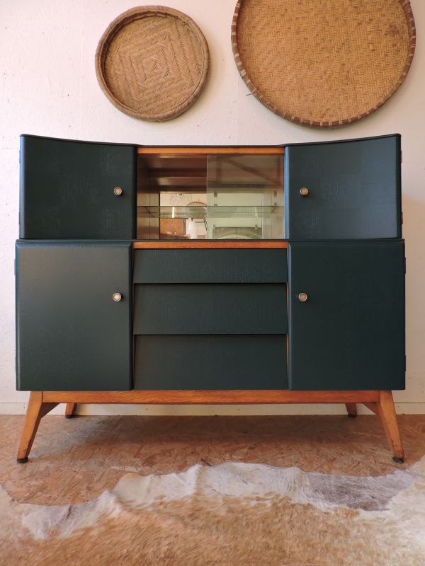 buffet ann es 50 revisit en vert canard c te et vintage. Black Bedroom Furniture Sets. Home Design Ideas