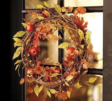 Faux Harvest Fruits Wreath Pottery Barn Door Wreaths Fall Fruit Wreath Fall Wreath