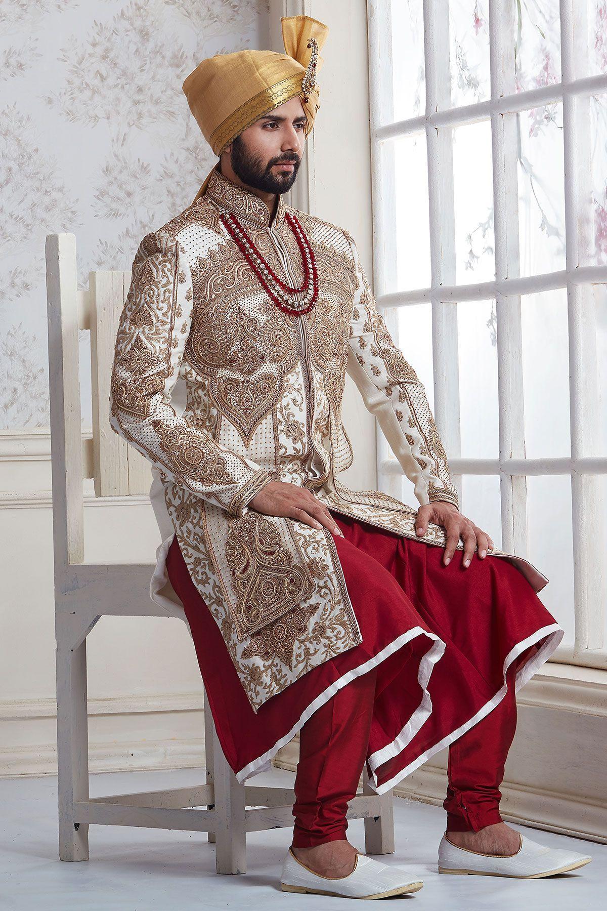 Raw silk wedding dress  White Resham Embroidered Raw Silk Wedding SherwaniSH  Sherwani