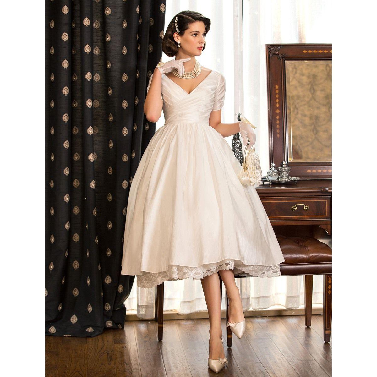 A Line Princess V Neck Tea Length Taffeta Wedding Dress 783941 Wedding Dresses Taffeta Tea Length Wedding Dress Ivory Wedding Dress [ 1200 x 1200 Pixel ]