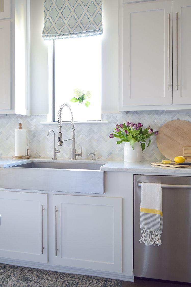 - Backsplashes Carrera Marble Herringbone Backsplash Kitchen