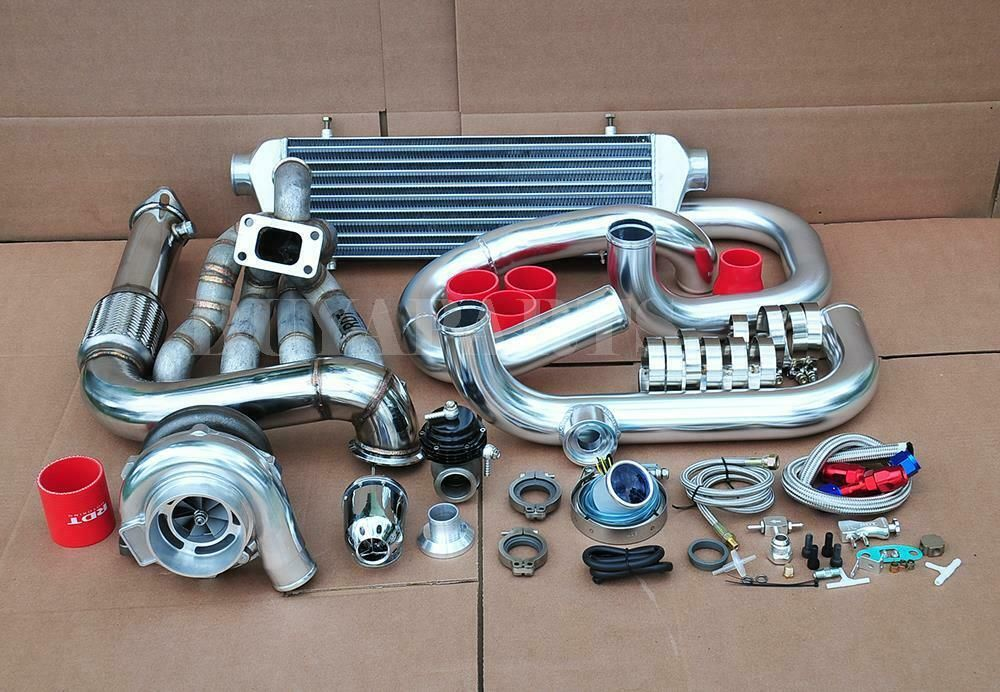 EBay Sponsored GT3076 Top Mount Turbo Kit Chrome Piping Red