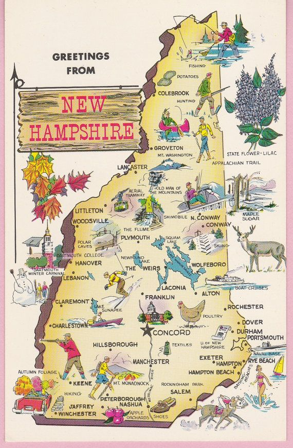 Vintage New Hampshire Souvenir Travel by pecanhillpostcards 499