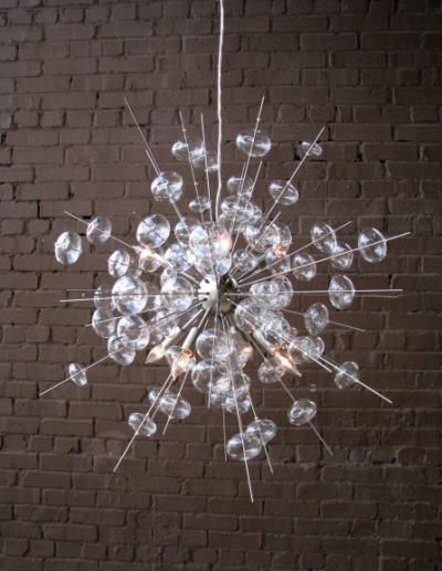 Bubbles Glass Chandelier Nickel Construction Handn 6 Light