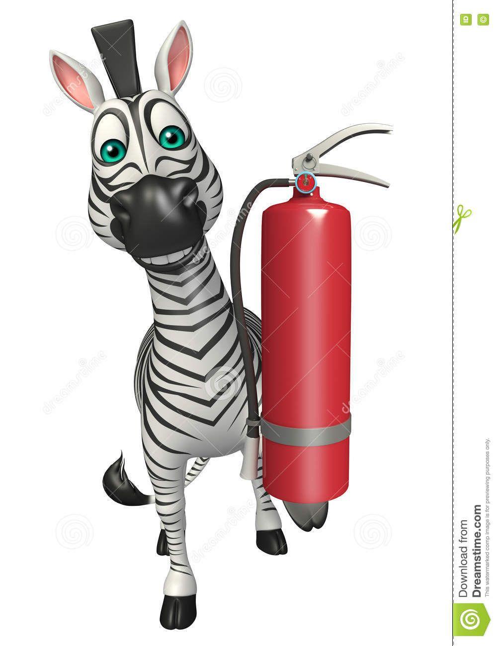 Personaje de dibujos animados. Cebra con extintor... | Carro de ...