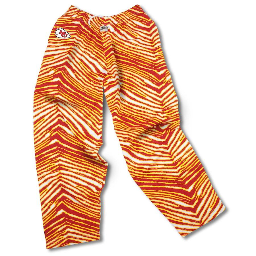 Kansas City Chiefs Zubaz Pants Red Gold Kansas City Chiefs Zebra Pant Logo Pants