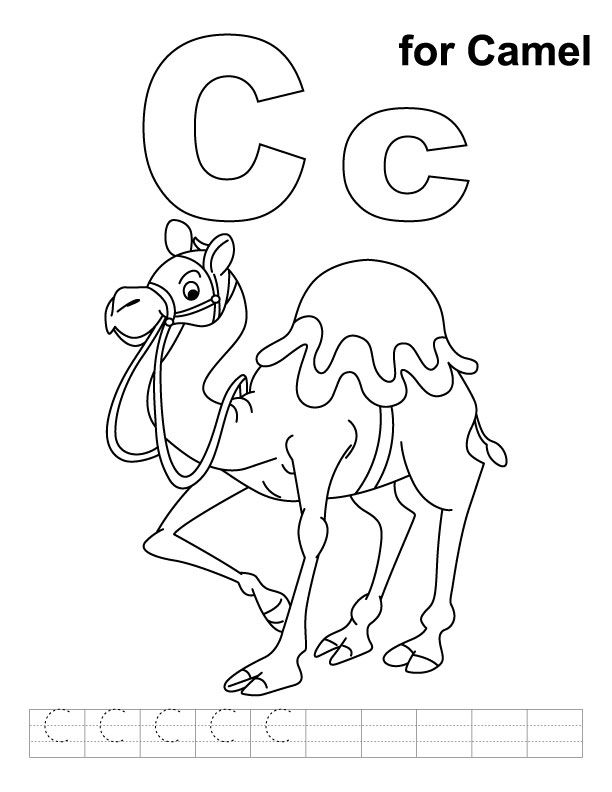 C for camel coloring page with handwriting practice