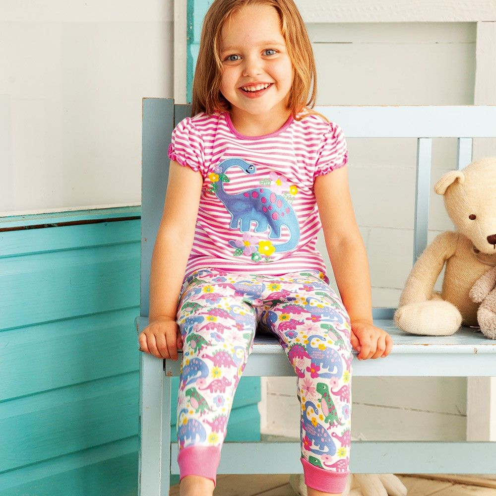 8b1feb963485b Girls  Dinosaur Appliqué Pyjamas