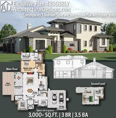 Architectural Designs Exclusive Home Plan 430038LYgives you 3 bedrooms, 3 baths and 2,700+ sq. ft.   Ready when you are! Where do YOU want to build?   #430038LY  #adhouseplans #architecturaldesigns #houseplans #architecture #newhome #newconstruction #newhouse #homedesign  #homeplans #architecture #home #mediterranean #homesweethome #european #hillcountry #contemporary #exclusive