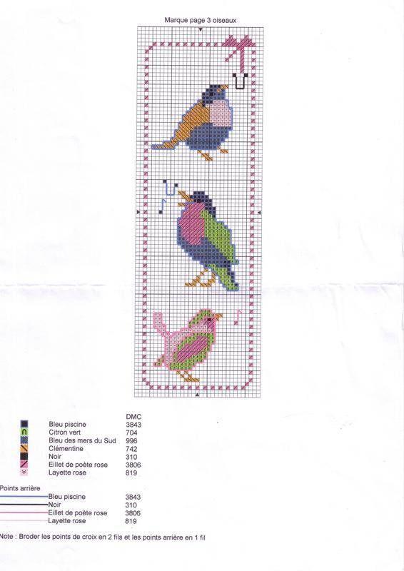 patron broderie oiseau | Marque page