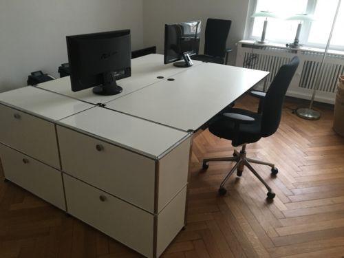 Büromöbel weiß gebraucht  USM Haller - 2 komplette Arbeitsplätze, Rechn mit MwsT in Nürnberg ...