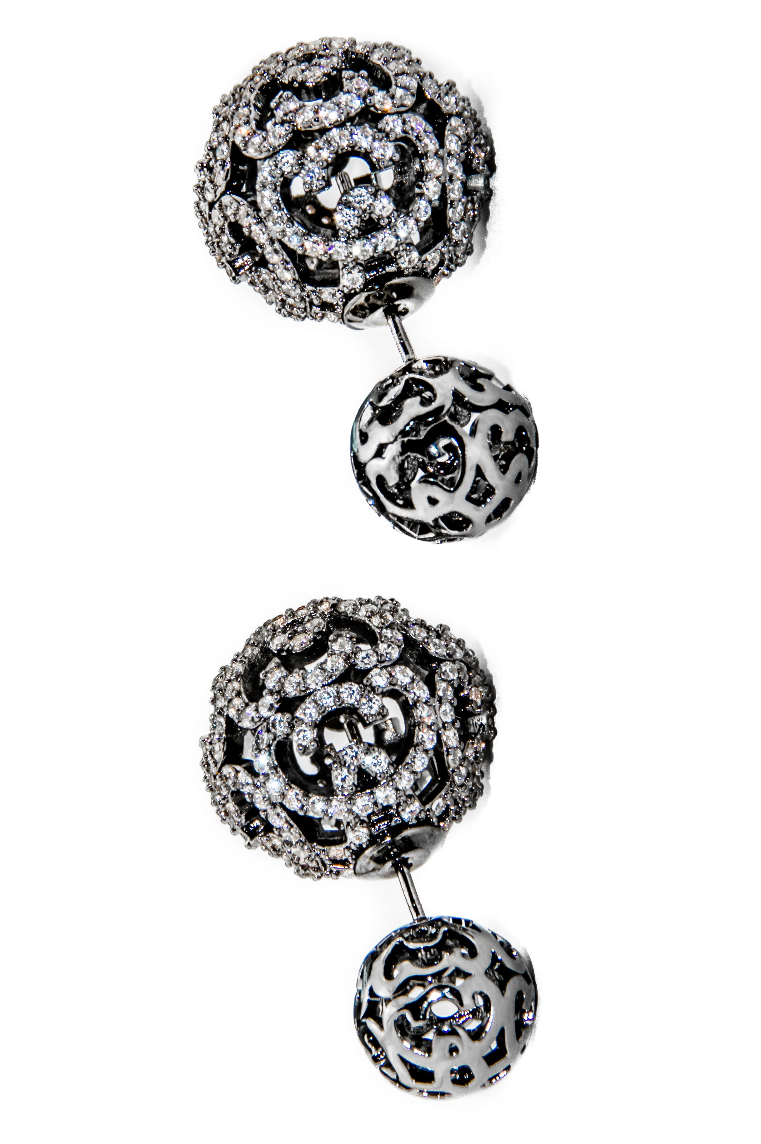 a84fdf6f76139f Monaco Gold Double Ball Earring is carefully crafted to perfection. This  earring is plated with 18K Gold and paved with premium cubic zirconia  crystals that ...
