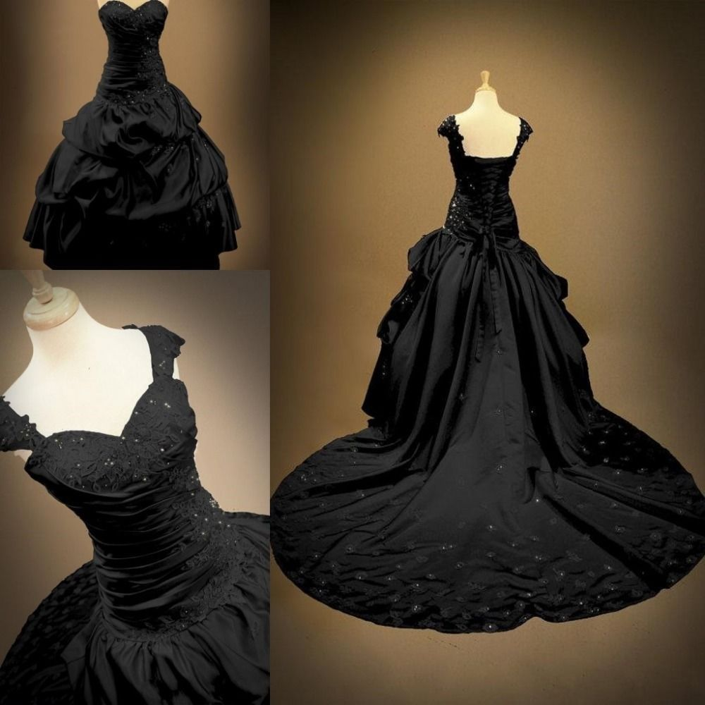 Gothic Black Wedding Dresses Victorian Beads Ball Gowns Formal Prom ...
