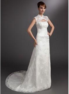 A-linjeformat Hjärtformad Court släp Satäng Spetsar Bröllopsklänning med Pärlbrodering