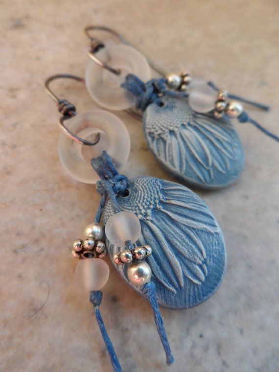 RESERVED Denim Daisies ... Polymer Clay, Lampwork Ring, Tassel and ...