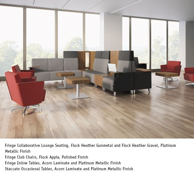 National Office Furniture Fringe Inline Tables and Staccato Occasional Tables in Acorn Laminate