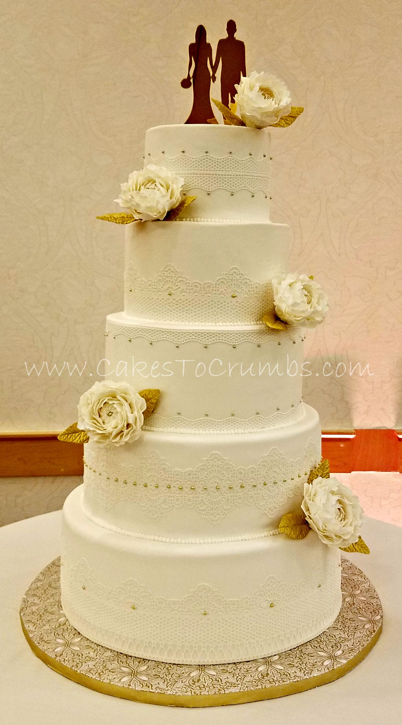 White and Gold wedding cake - Lace wedding cake with flowers and ...