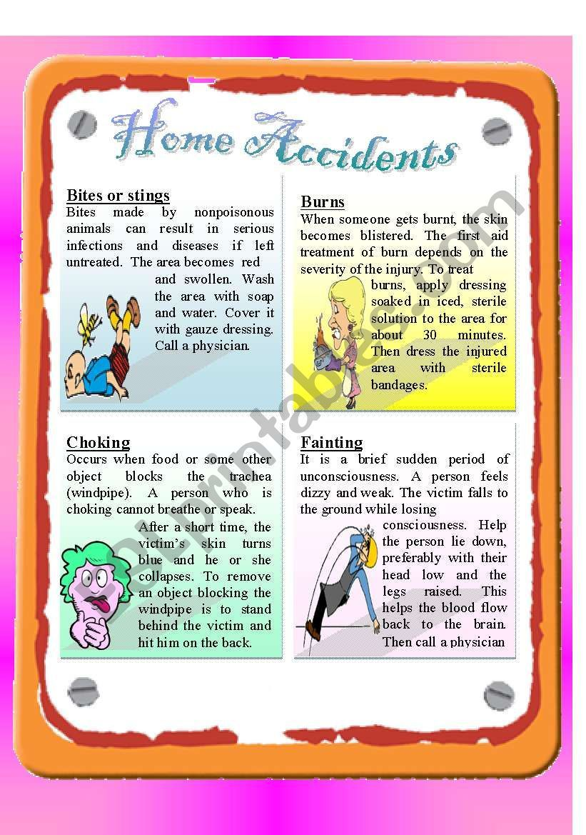 Rc Home Accidents Such As Burns Stings And Bites Choking And Fainting Followed By Comprehension Questions Answer Ke Reading Accident This Or That Questions [ 1169 x 821 Pixel ]