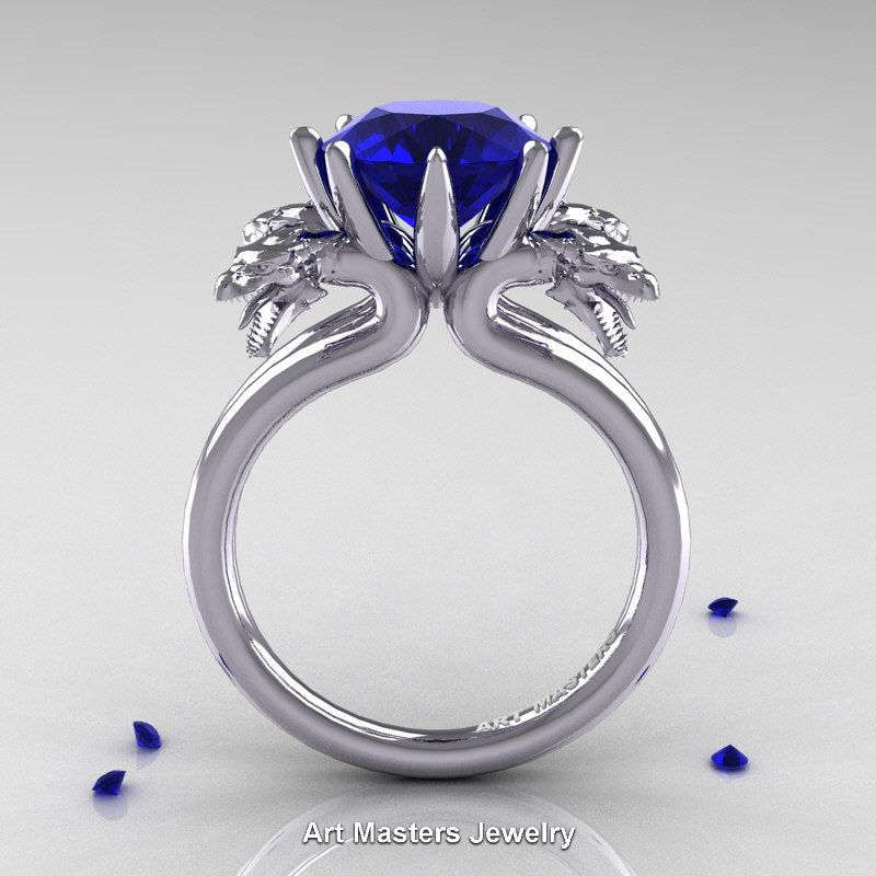 Rings 1.00 Ct Blue Sapphire 14k White Gold Over Solitaire Mens Engagement Wedding Ring Men's Jewellery