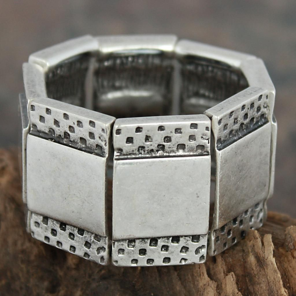 Pewter Squares Etched Rectangles Stretch Bracelet