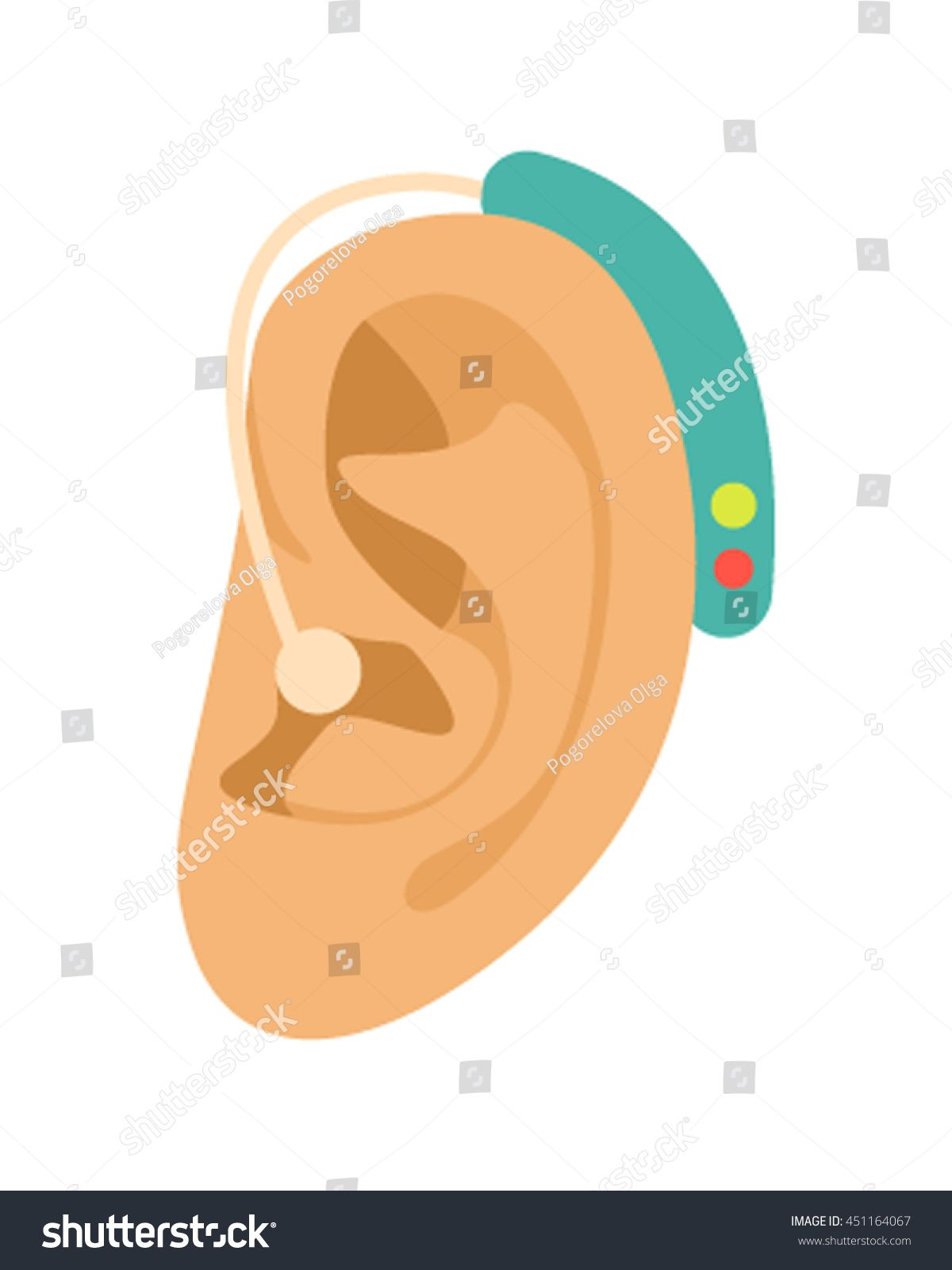 Ear Hearing Aid Icon Cartoon Style Stock Vector