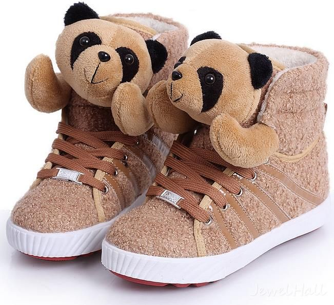 Cartoon Family Teddy Panda Women Increased Within Cotton-padded Shoes: jewelhall.com