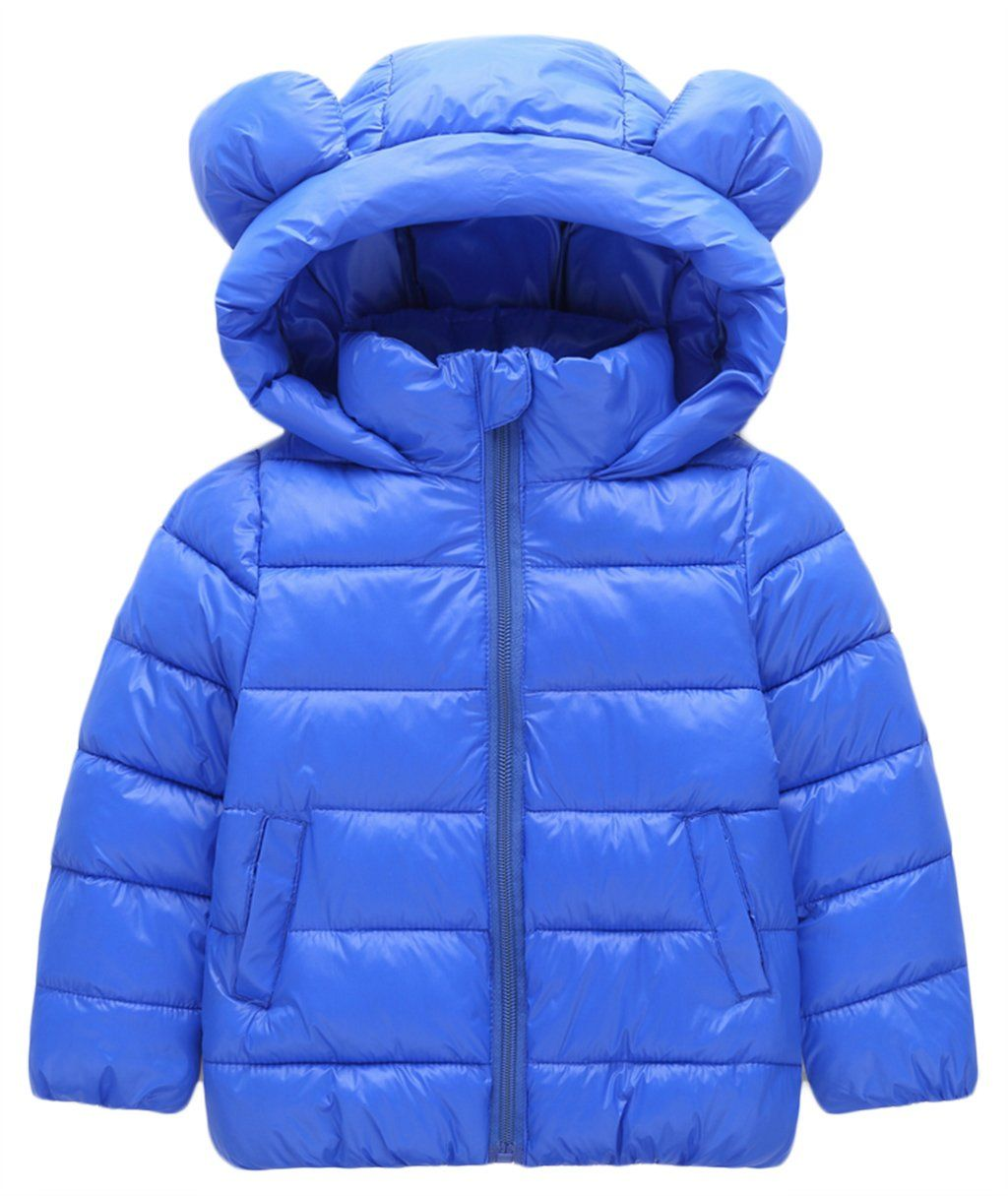 6224bf5b7 Kids Boys Girls 3D Cartoon Bear Ear Hooded Puffer Coat Down ...