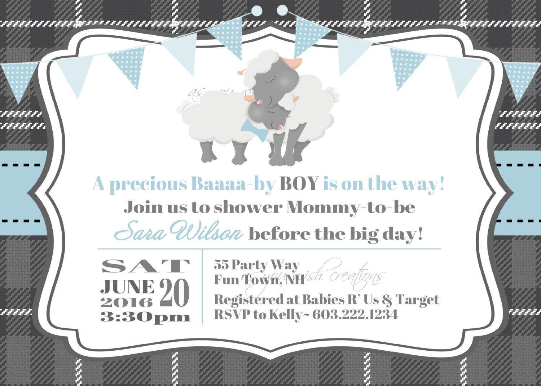 Lamb Baby Shower Invitation Boy Invitation Lamb Shower Invitation ...