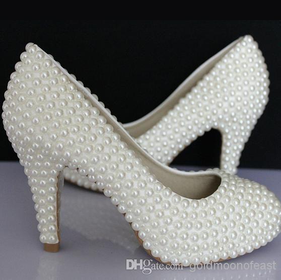 Vogue Womens Rhinestone Pearl Wedding Shoes High heel White Stiletto Pumps Party