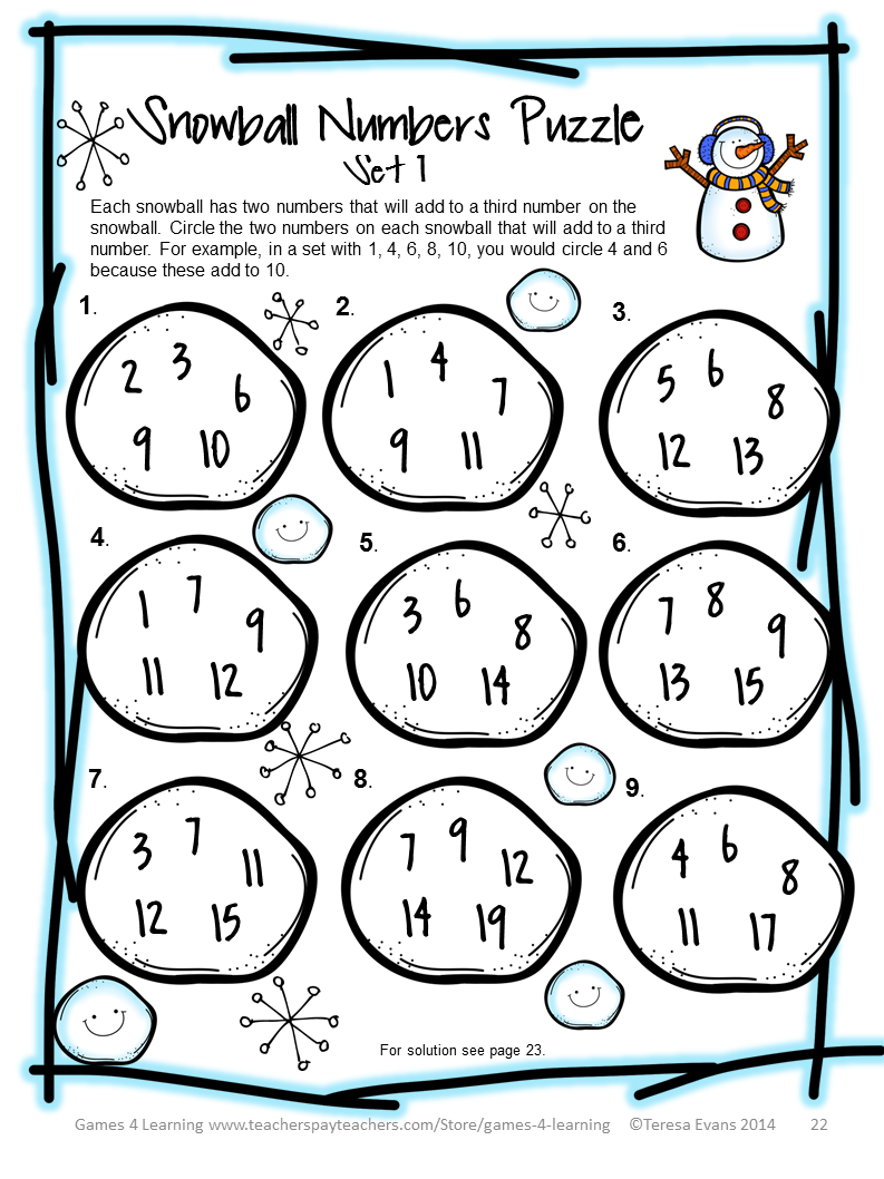 Winter Math Puzzle Sheet From Winter Math Games Puzzles And Brain Teasers Winter Math Activities Winter Math Winter Math Games [ 1058 x 793 Pixel ]