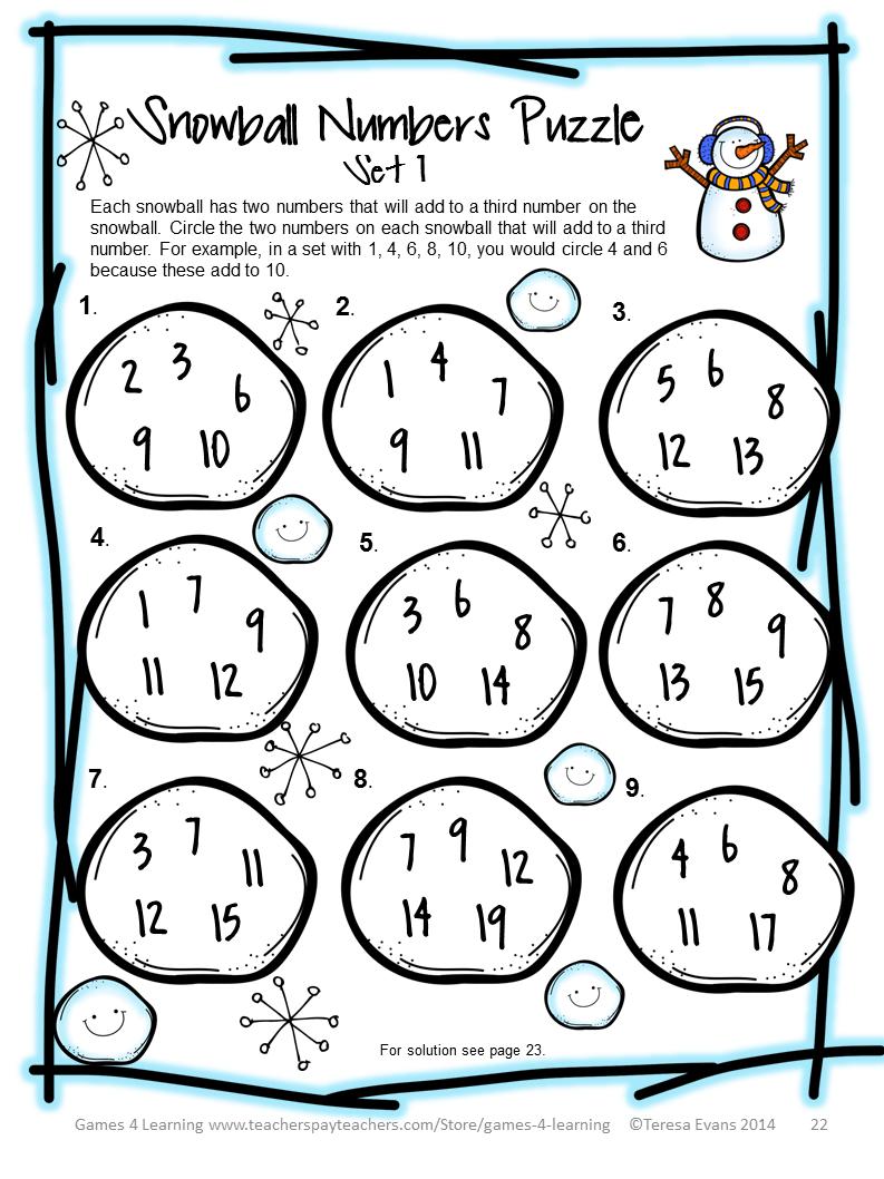 Winter Math Puzzle Sheet from Winter Math Games [ 1058 x 793 Pixel ]