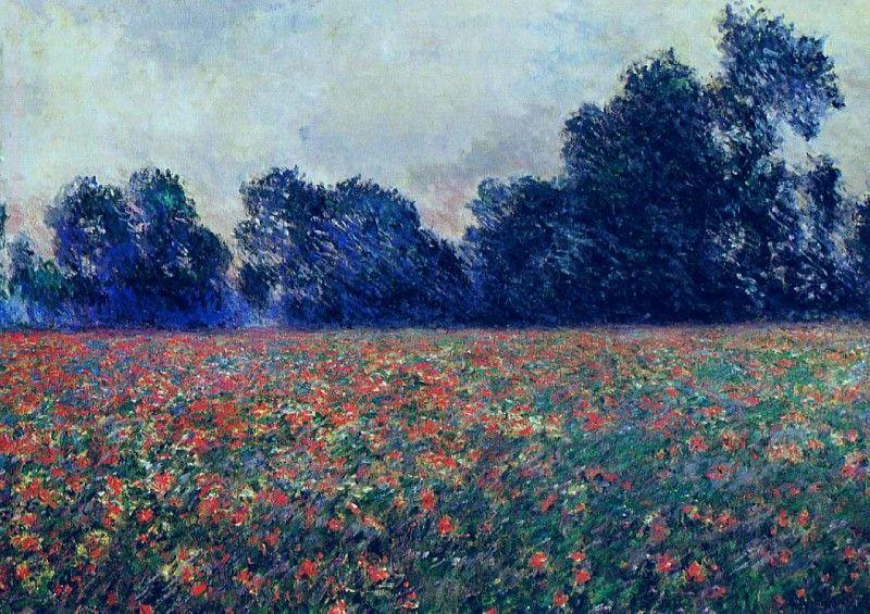 Клод Моне - Poppies at Giverny, 1887. Клод Оскар Моне