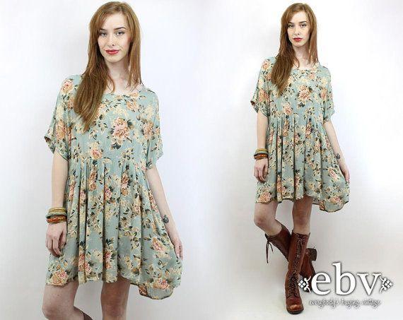 #Vintage #90s Soft Grunge Green Floral Babydoll #Dress, fits XL/1X by #shopEBV http://etsy.me/1QMOTDm @Etsy #softgrunge #90sfashion #1990s