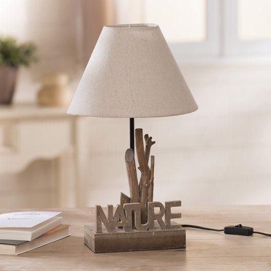 Lampe Nature Avec Son Pied En Bois Sculpte Pour Une Deco Tout En