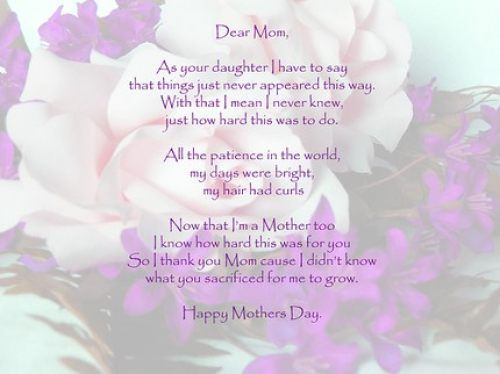 Mothers Day Card Verses Poems