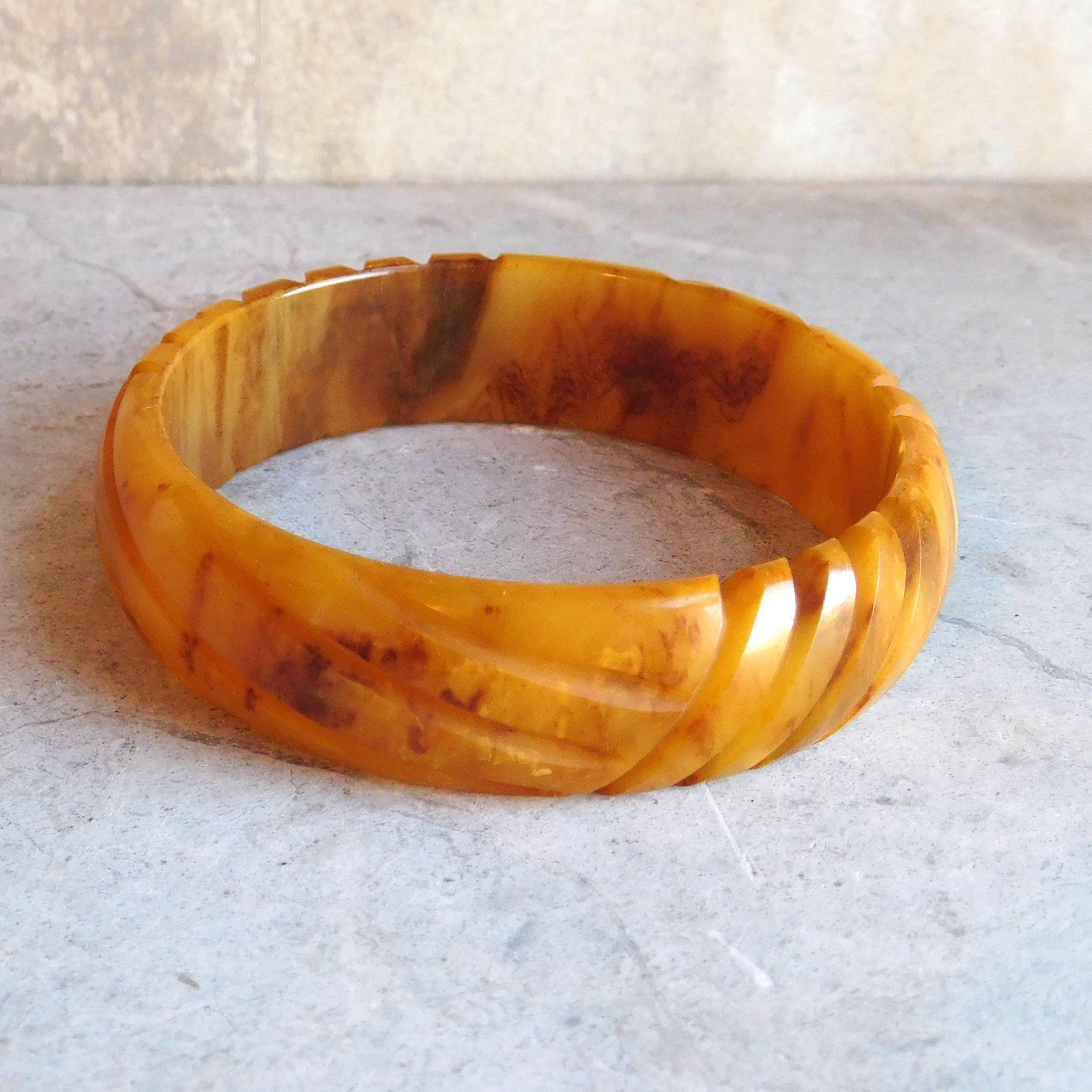 Vintage Bracelet Bangle Brown Orange